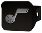 "Utah Jazz NBA 2"" Black Chrome Metal Tow Hitch Receiver Cover 3D"