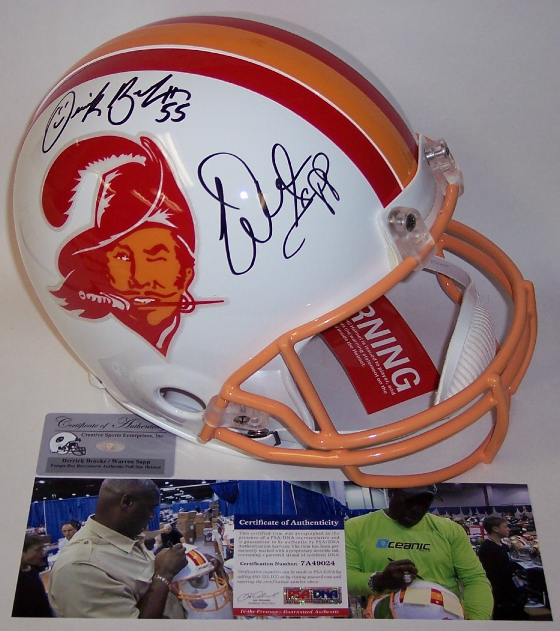 a59aefe3d Warren Sapp / Derrick Brooks - Autographed Official Full Size Riddell  Authentic Proline Football Helmet - Tampa Bay Bucs Throwback - PSA/DNA