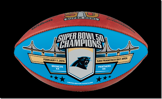 Wilson Official Leather NFL® SUPER BOWL 50 Full Size Game Football -  Carolina Panthers Super Bowl Champs - Limited Edition of 5000 e63a07abb