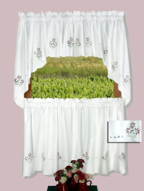 """Molly 30"""" Tier Curtains - Pink  CLEARANCE"""