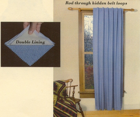 Homespun  Double Lined Dual Header Curtain Panel