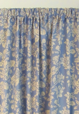 "63"" L Federal Floral Blue Lined Rod Pocket Single Panel - - SOLD OUT"