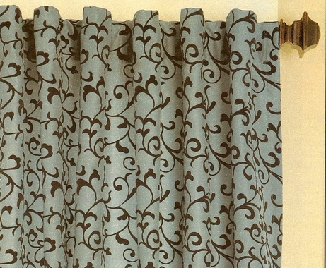 Flocked Delano Scroll Faux Silk Panel Dual Header Rod Pocket Curtain Panel - CLOSE OUT