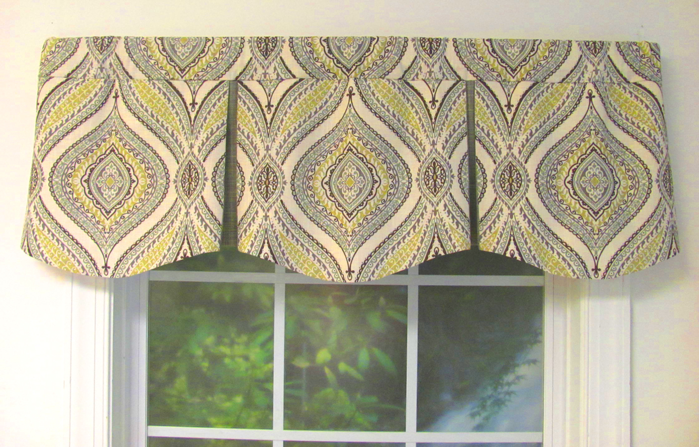 Shaped valances solid patterned cornice box pleat for Window valance