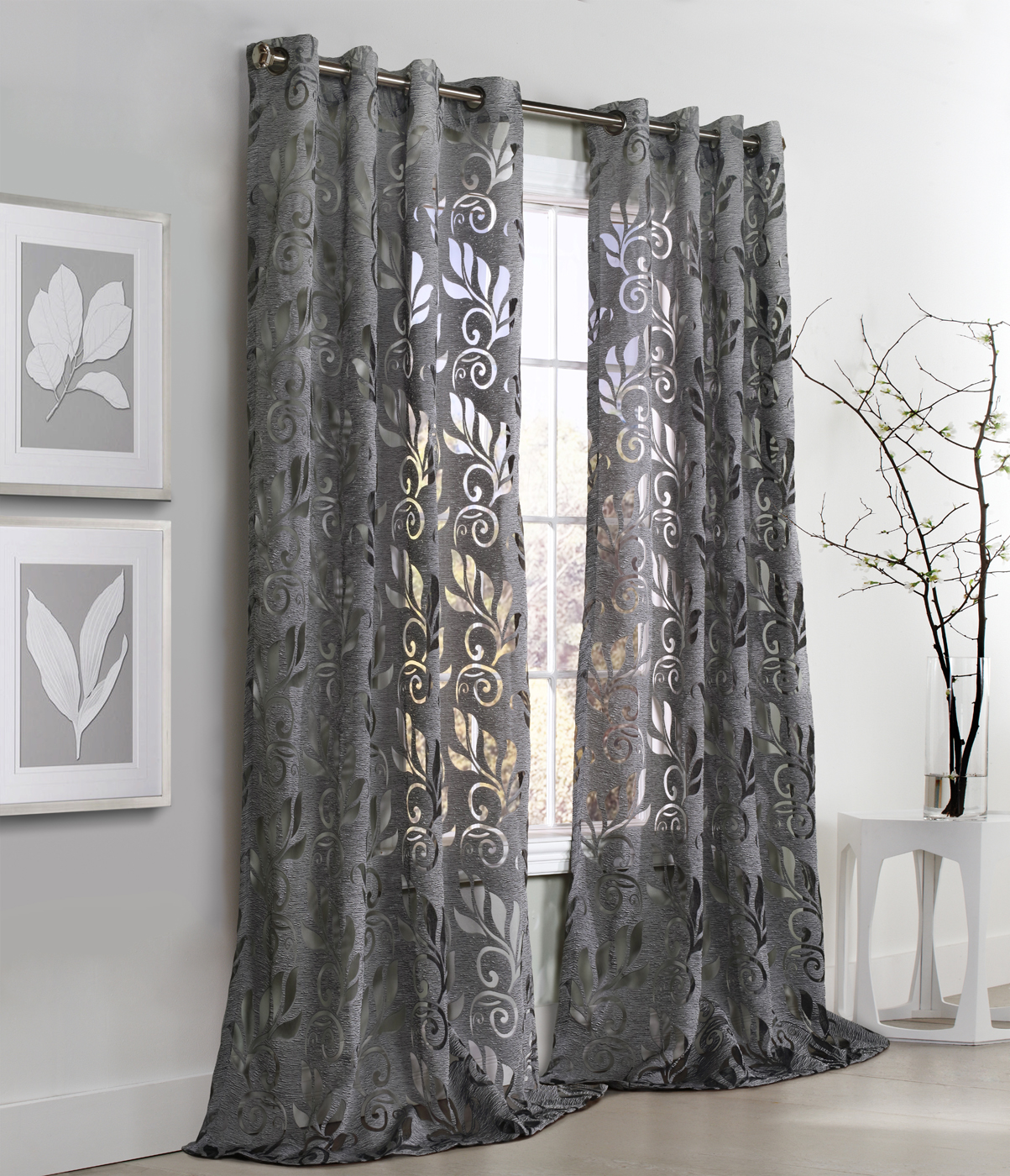 Amelia Floral Burnout Grommet Curtain Panel Couture