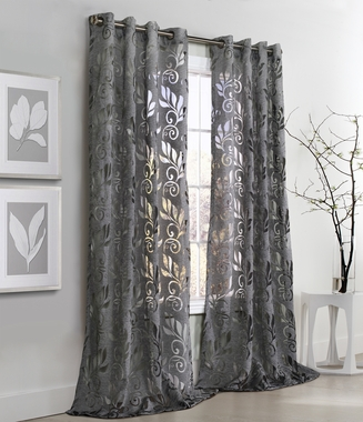 Amelia Floral Burnout Grommet Curtain Panel - Couture