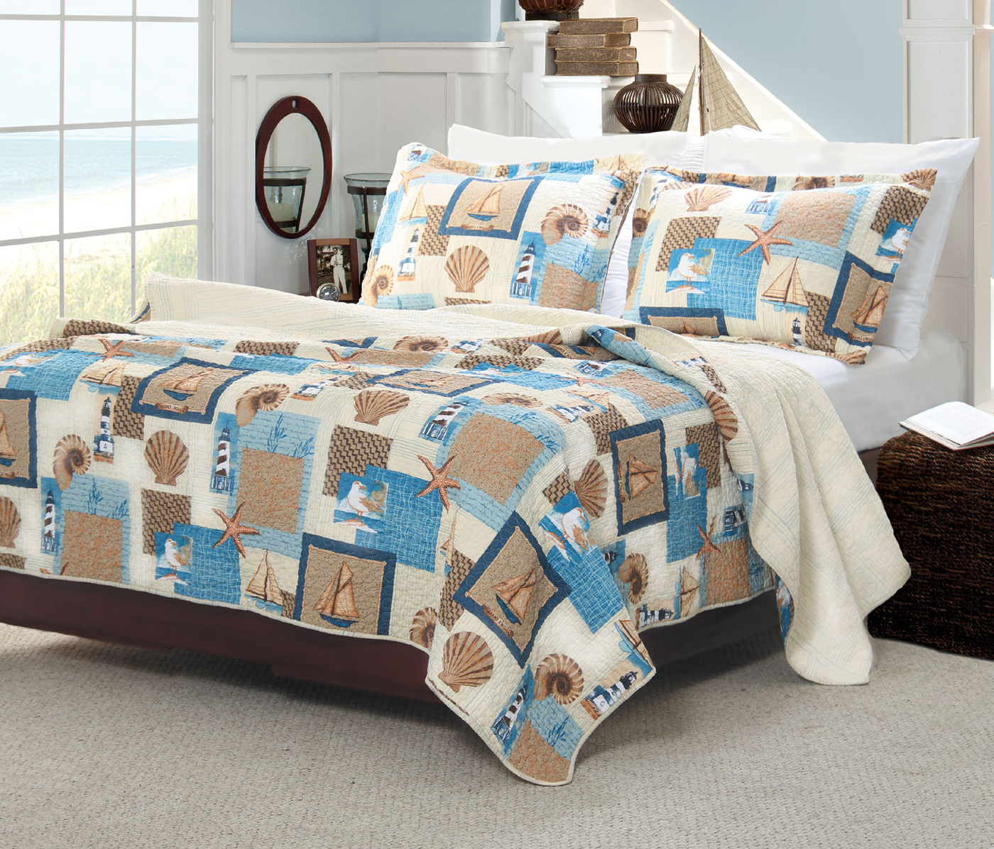 Beachcomber Quilted Pillow Shams And Throw Sold Out