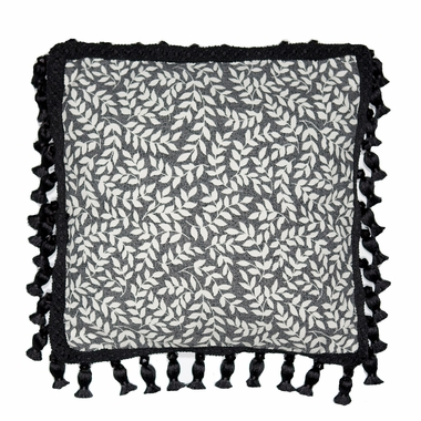 Leaf Print Decorative Pillow - Bouvier Black by Thomasville