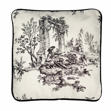 Toile Decorative Pillow - Bouvier Black by Thomasville
