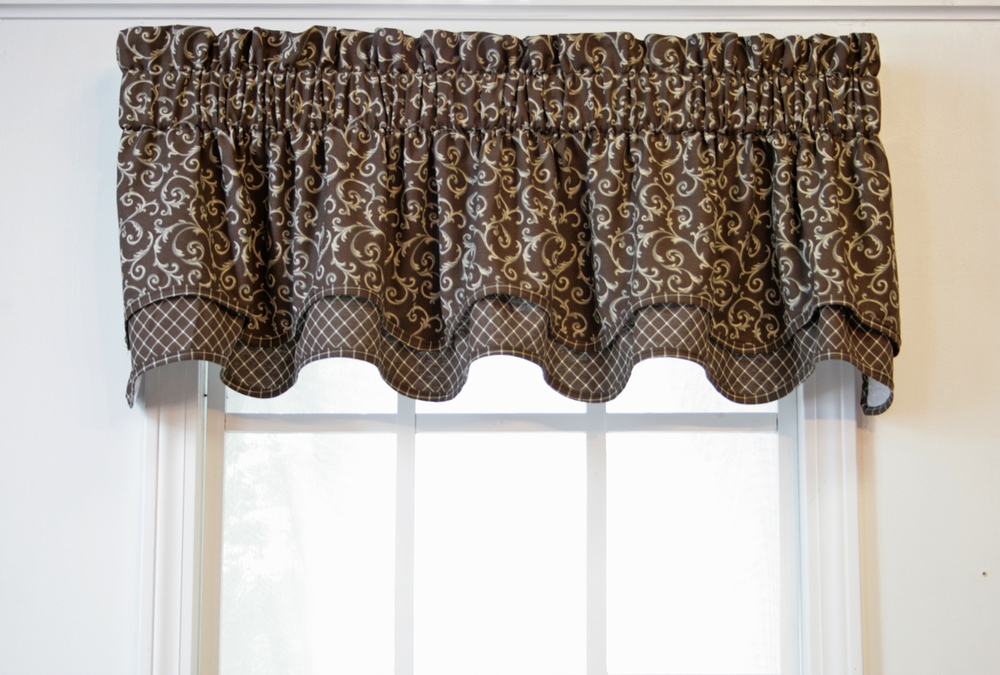 Brown swag valance solid copper brown colored swag window valance optional solid brown - Boutique free valence ...