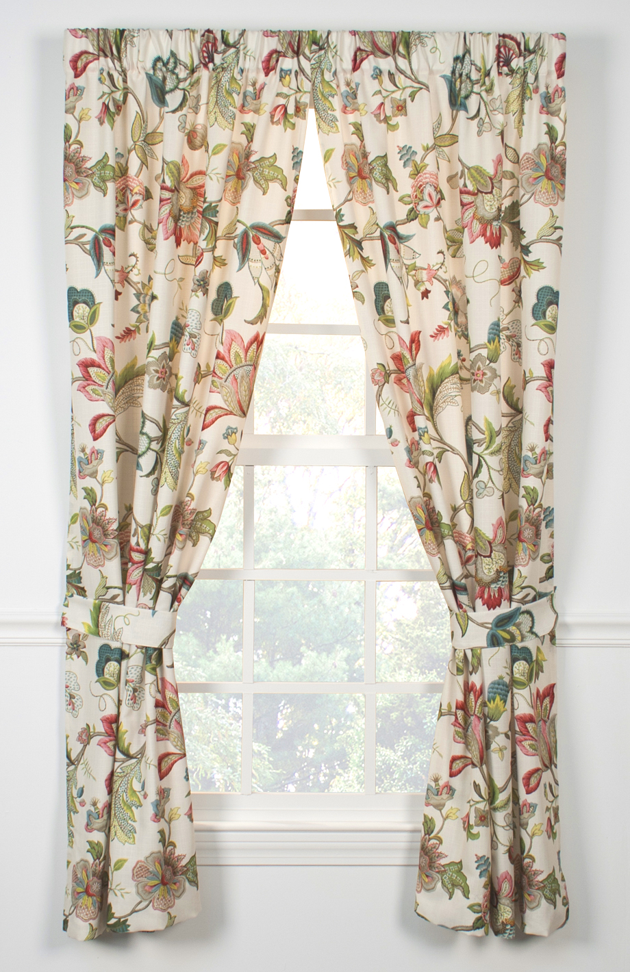 pink floral print poly cotton blend country curtains for bed