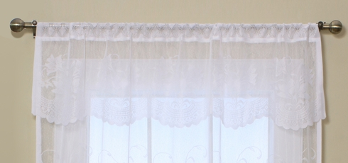 Brittany Lace Tailored Valance -White