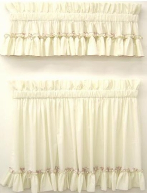 Tier Curtain Pair  - Carolina Ruffled Country Style