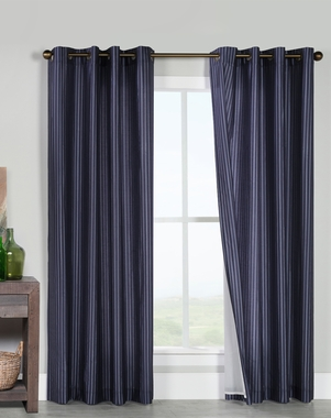 Classic Shadow Stripe Insulated Grommet Curtain Panel