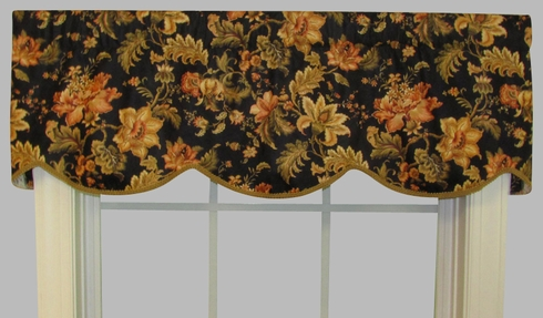 Cornice Valance  (not lined) - Dorthea Ebony - CLEARANCE