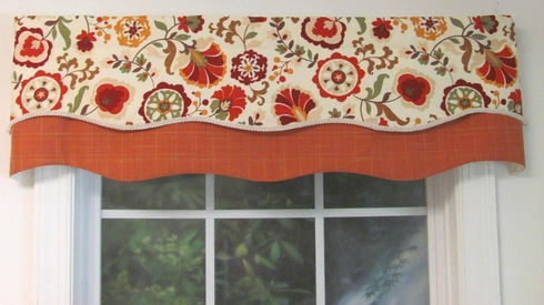 Daphne Crimson Double Scalloped Valance