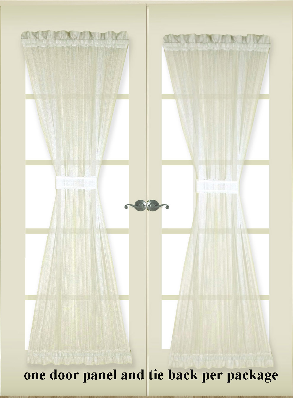 Superbe Atlantic Stripe Sheer Door Panel With Tie   Closing Out