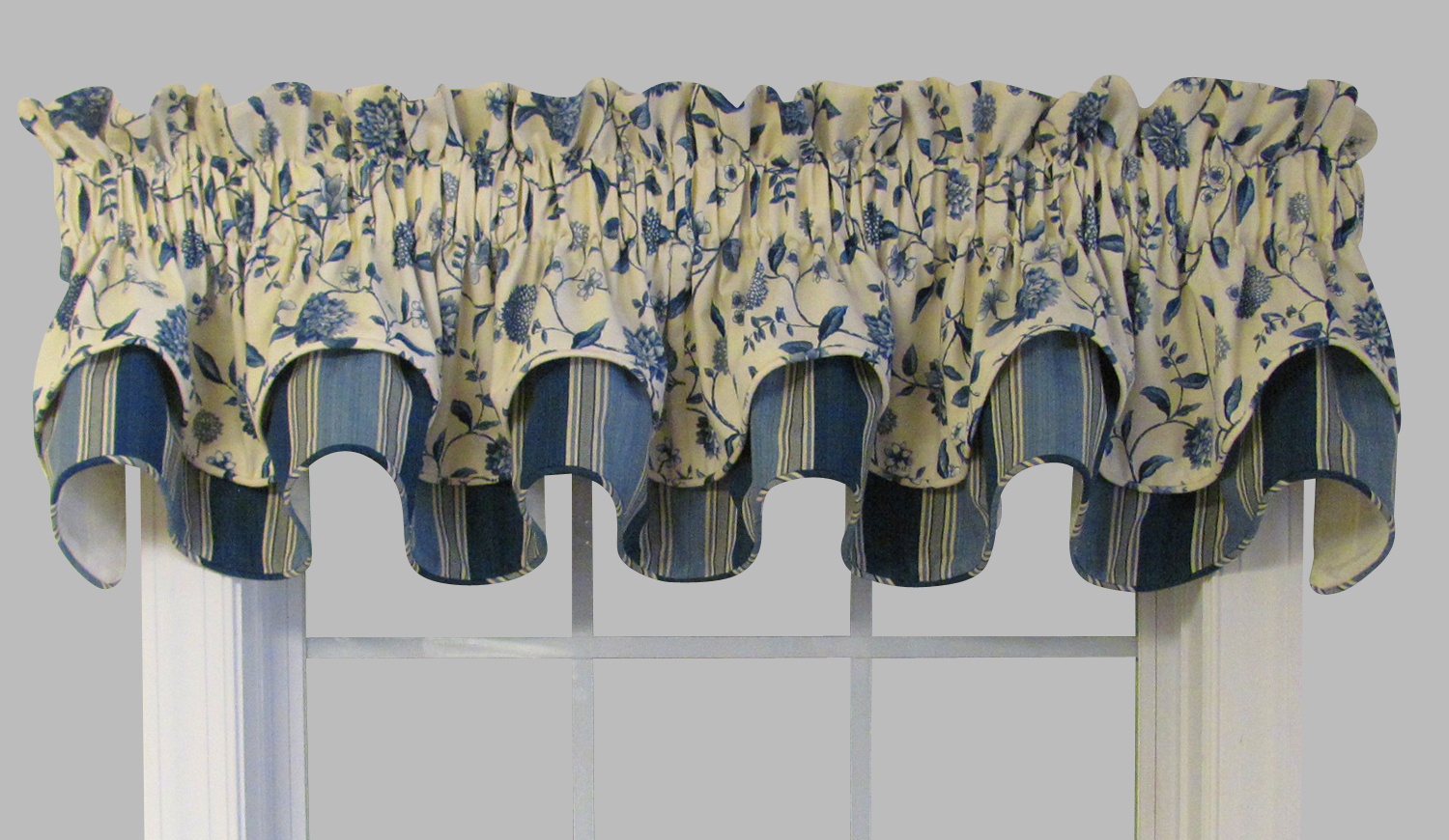 Double Cambridge Valance With Vines Stripes Layers