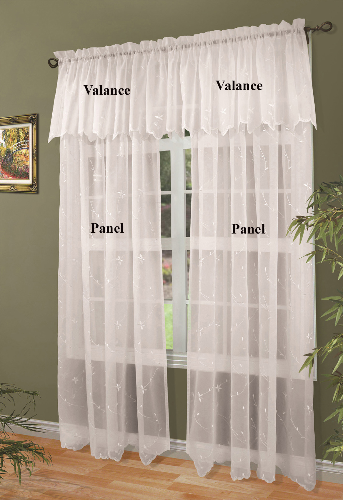 dining rose and semi valance brown decoration lace panels room kitchen curtain valances curtains sheer inch tier cafe ivory