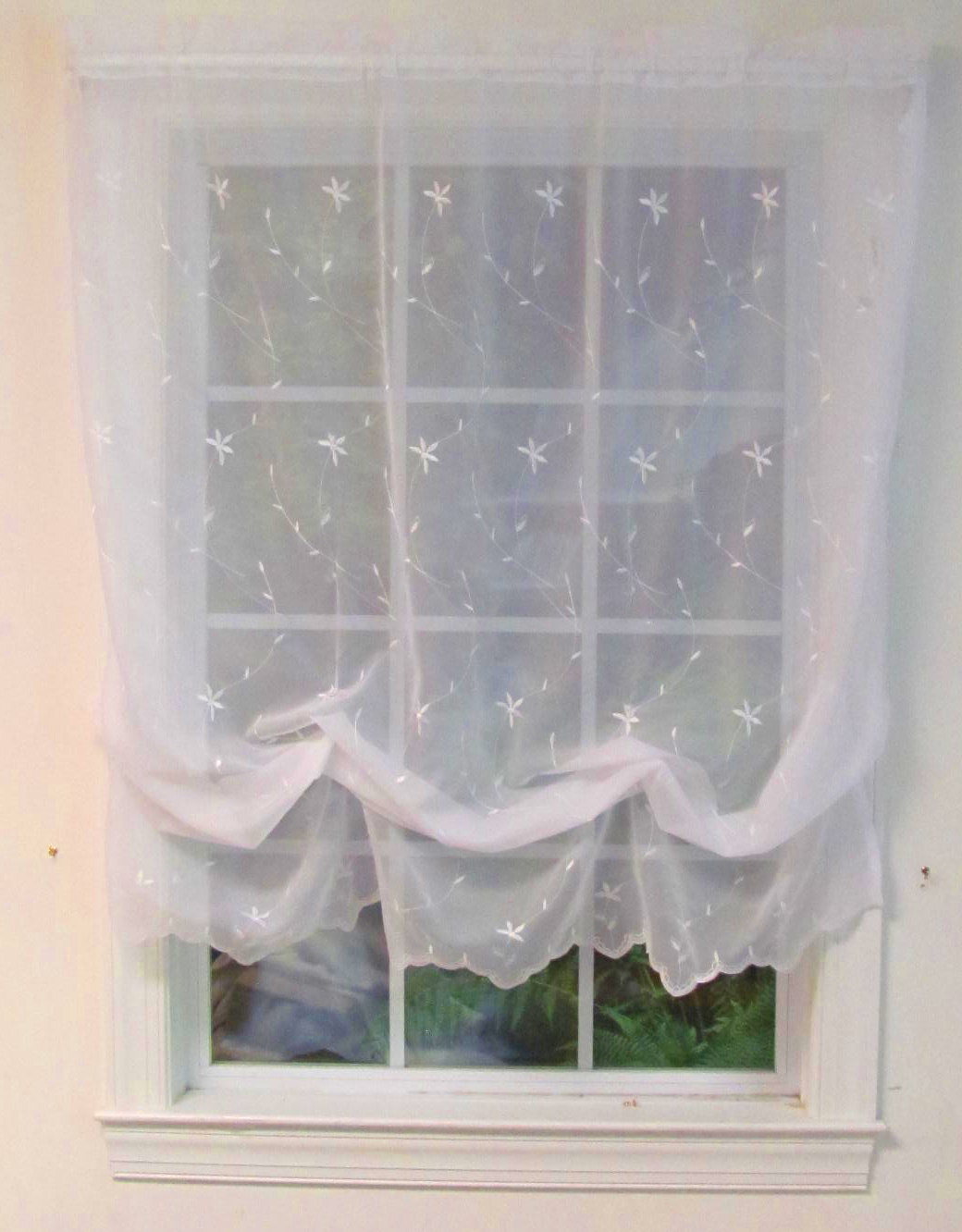 Sheer balloon curtains - Embroidered Voile Balloon Curtain Roslyn