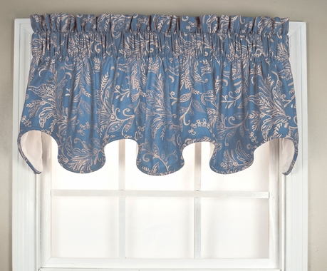 Floating Leaves Lined Scalloped Valance