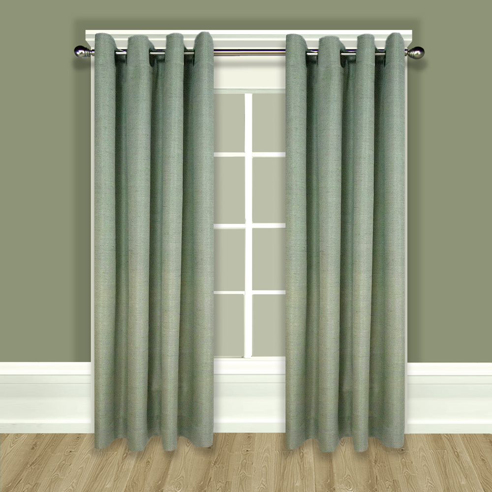 Grasscloth lined grommet top curtain panels for Grommet curtains