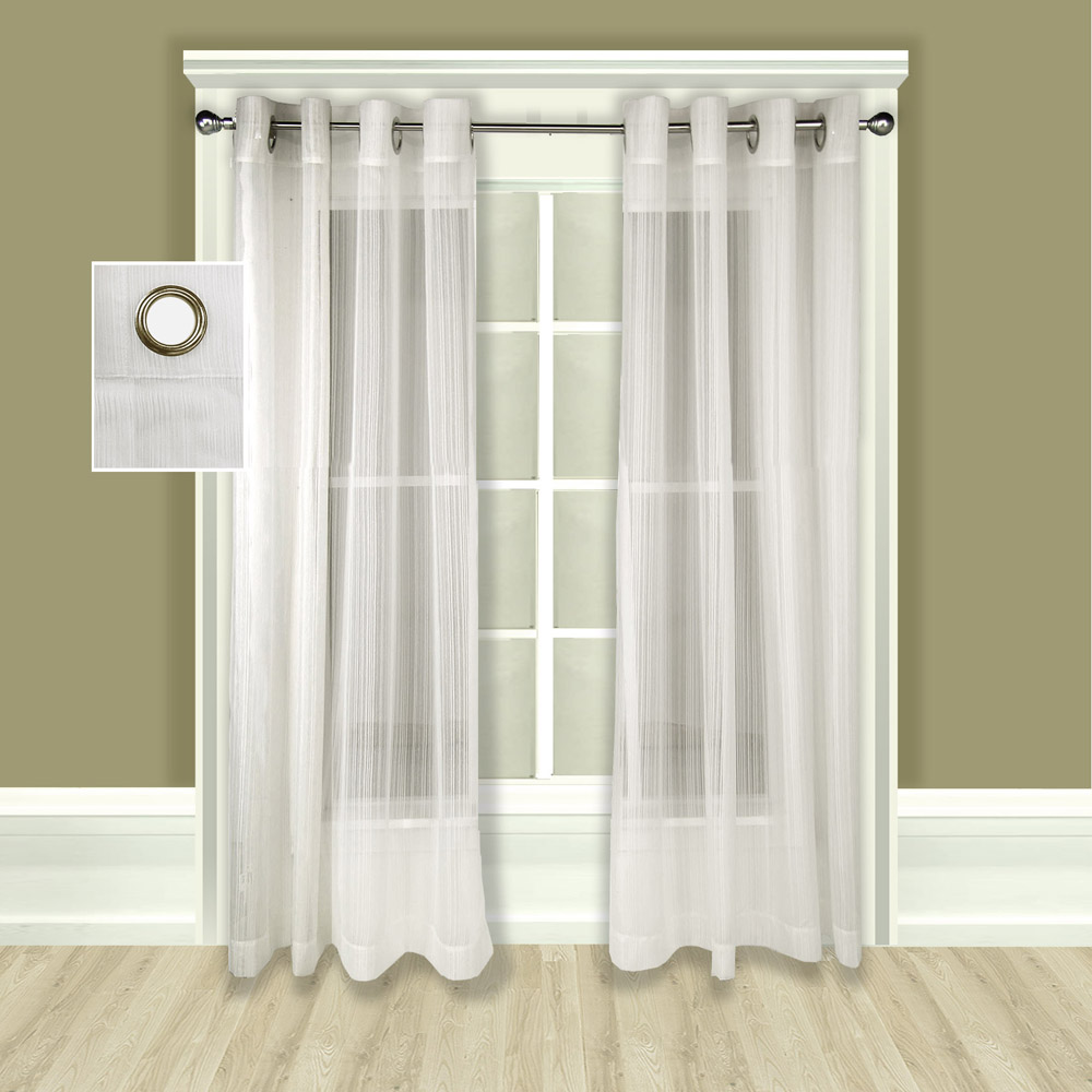 white crushed curtain sheer grommet panel single abri panels