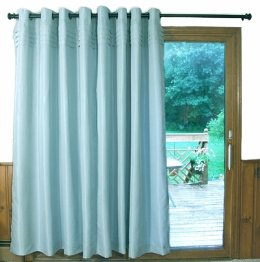 Oxford Tuxedo Grommet Curtain  Patio Panel - IVORY