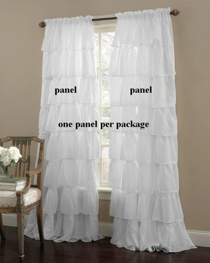 Gypsy Layered Ruffled Voile  Rod Pocket Curtain Panel