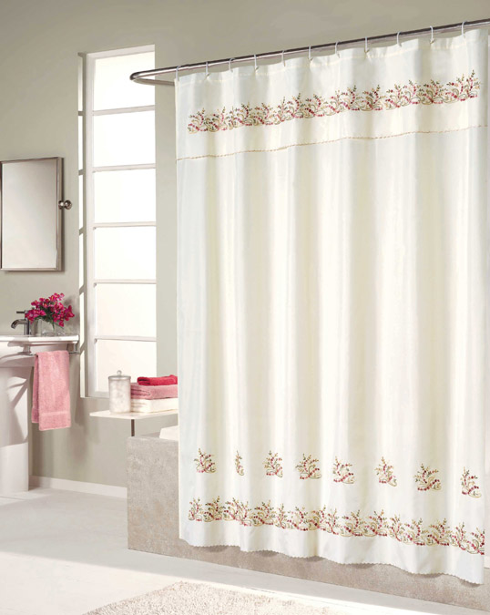 Heather Embroidered Voile Shower Curtain And Window