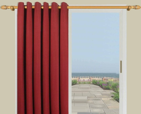 Homespun Linen Lined & Innerlined Grommet Patio Panel With Detachable Wand