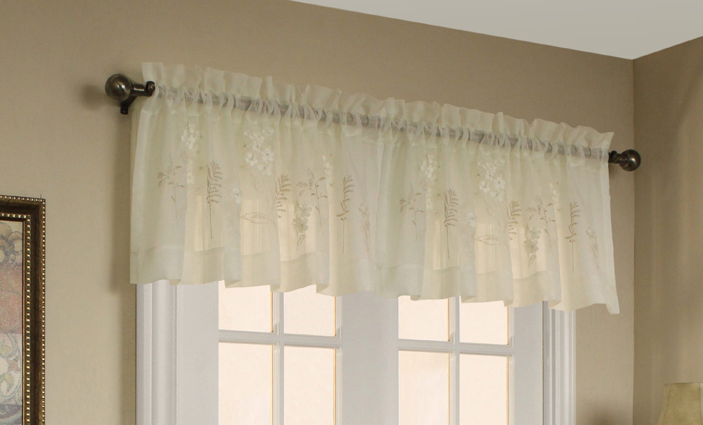 Hydrangea embroidered semi sheer panel - Boutique free valence ...