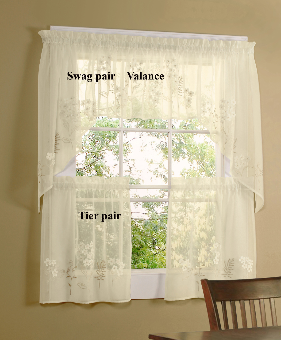 Hydrangea Semi-Sheer Tiers, Valance, and Swag