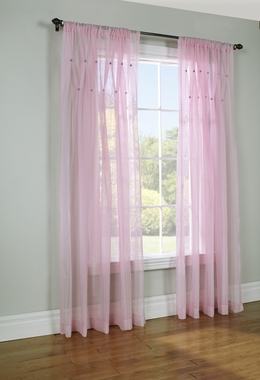 Jewels Pink 84 inch long Rod Pocket Semi-Sheer Panel