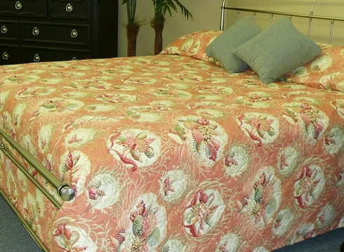 Seaworthy Bedspread With Coral And Shell Design