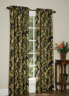 Rod Pocket Curtain Pair - La Selva Black by Thomasville