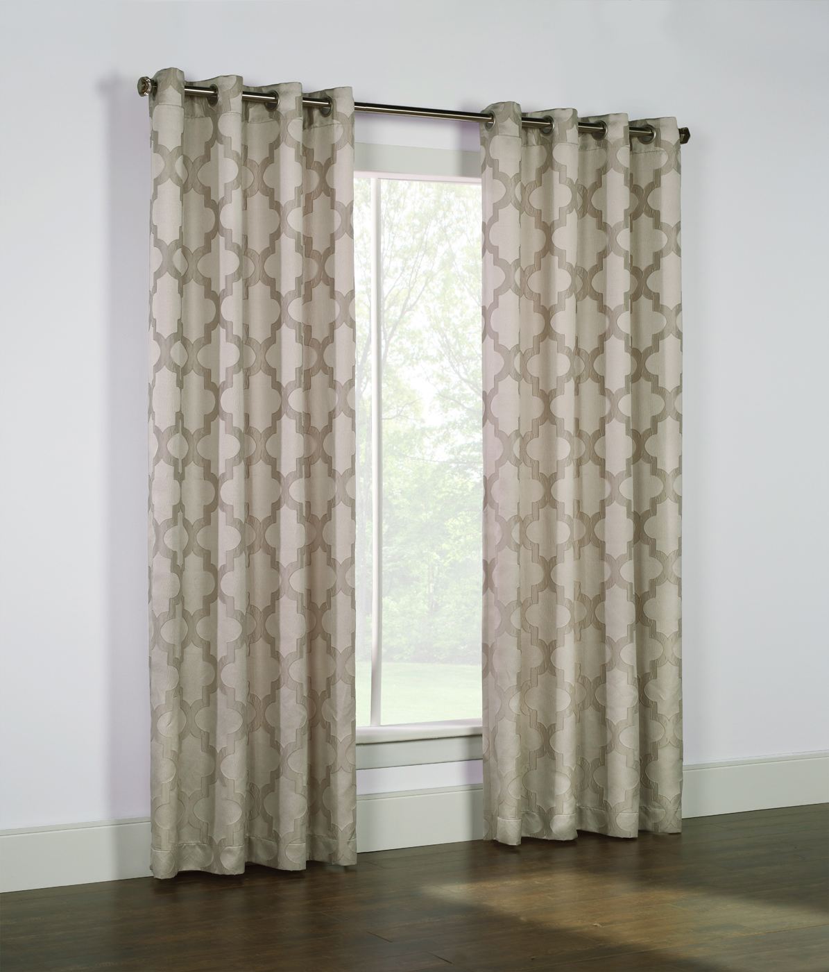 ball double curtains india online satin buy decowindow in curtain silver rod