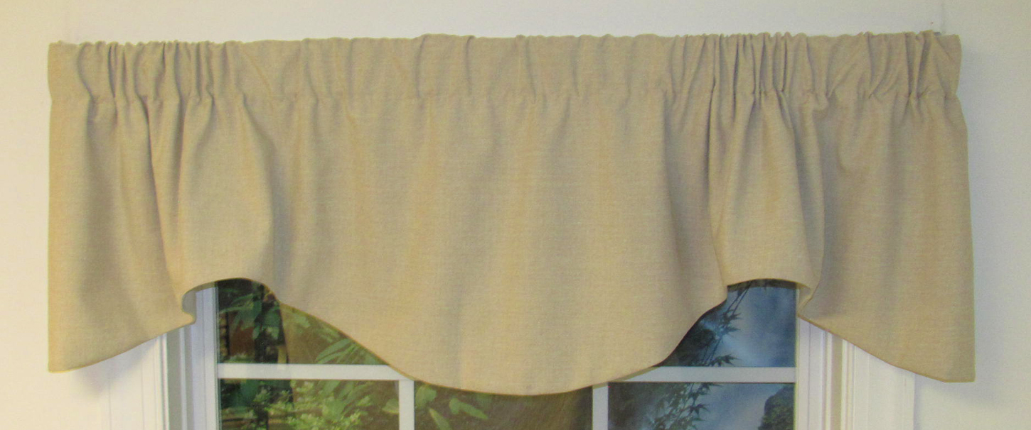 GEORGETTE BRICK FAUX SUEDE EMBROIDERED FLORAL SCROLL CORDED M SCALLOP VALANCE