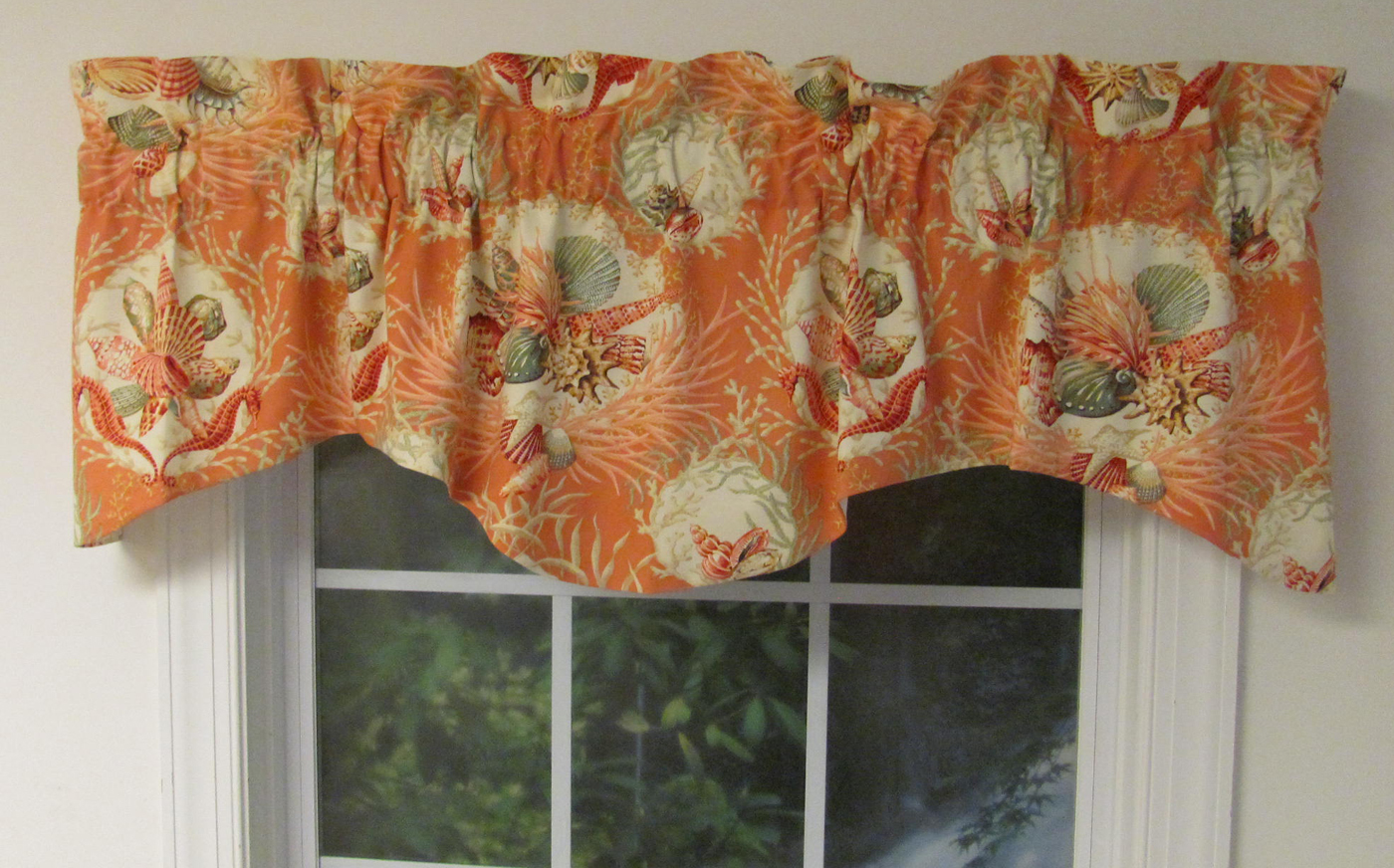 Seaworthy shell pattern window valances and swags - Boutique free valence ...