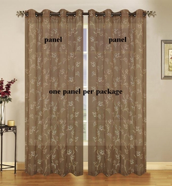Malverne Embroidered Semi Sheer Grommet Panels - CLOSING OUT