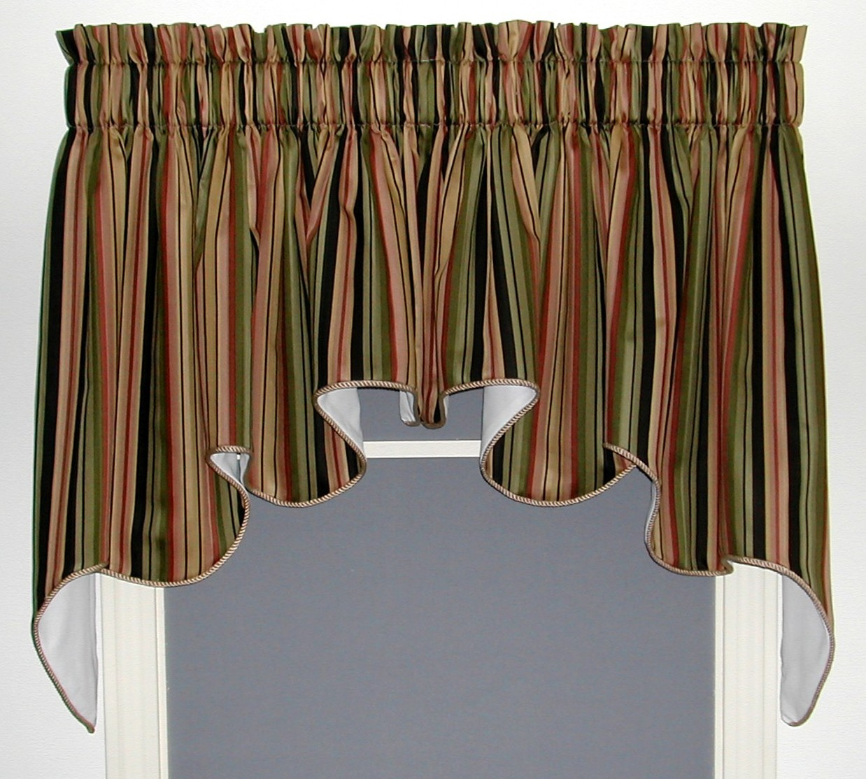 Montego Stripe Lined Scalloped Valance: Valances, Swags & Window Toppers ­- TheCurtainShop.com