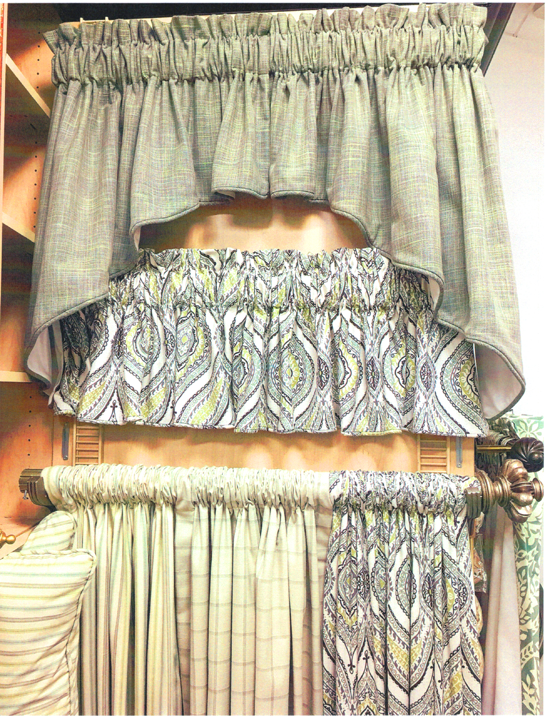 Mix match rod pocket panel and valance for Mix and match curtains colors