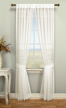 Palm Beach Semi Sheer Back Tab Panel Pair with Pinch Pleated Front
