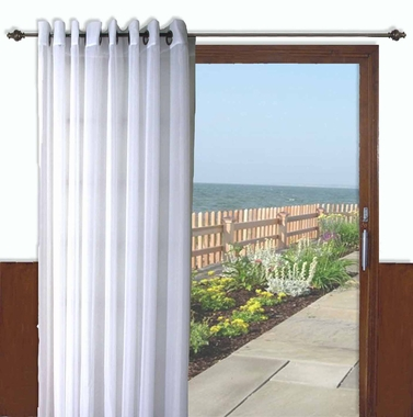 Oyster Bay Voile Grommet Patio Panel with wand - Ivory