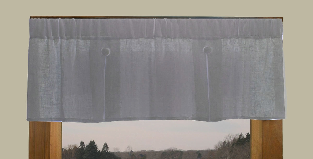 Pleated button valance shannon semi sheer linen blend - Boutique free valence ...