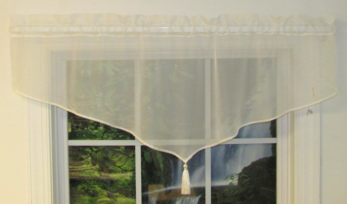 rod pocket semi voile chocolate valance erica products panel sheer crushed with beads