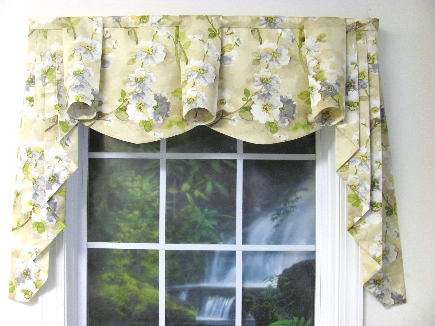 Tree blossom natural regal swooped window valance - Boutique free valence ...