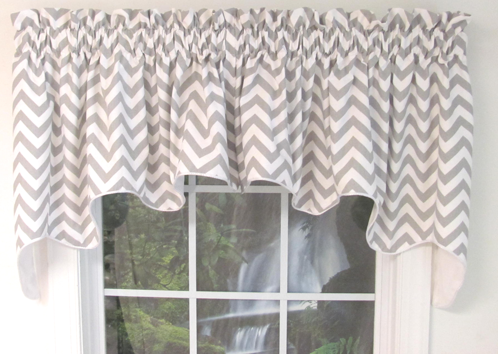 White And Gray Stripe Kitchen Valance