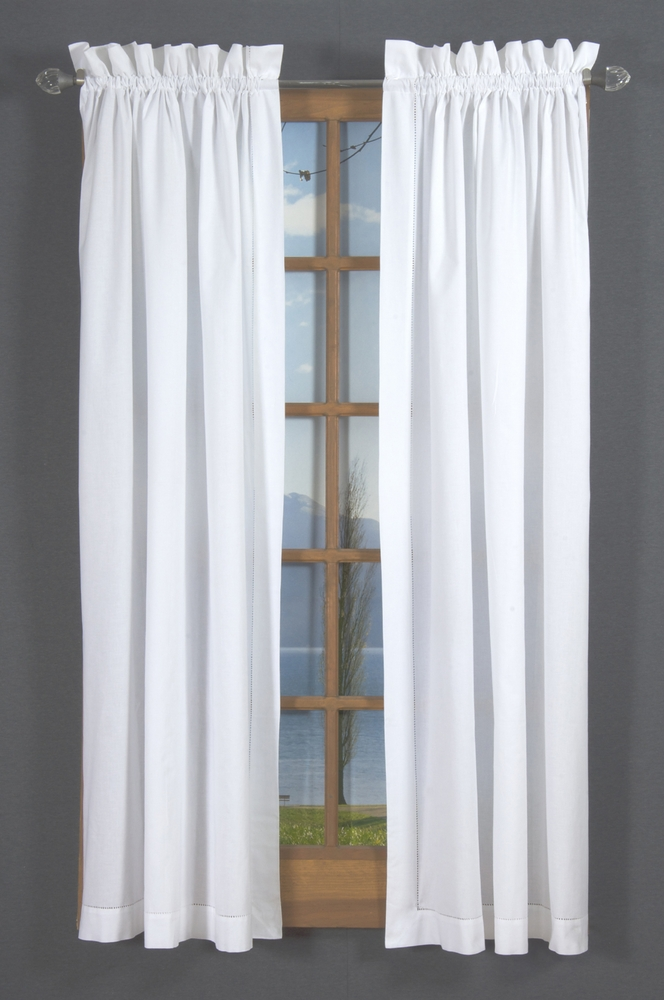 Hemstitch Rod Pocket Curtains White Thecurtainshop