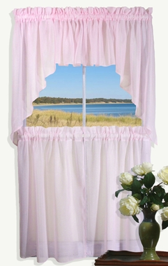 Sea Glass Semi Sheer Cafe Tier Curtains and Swags